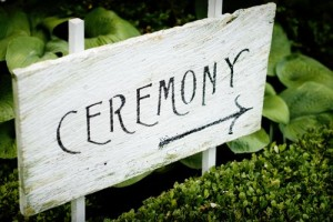 Wedding Signs hand made sign with ceremony in black and a white background