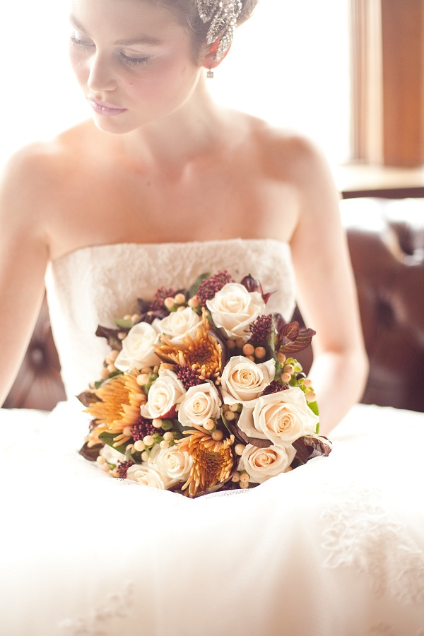 Autumnal Wedding bride with bouquet model