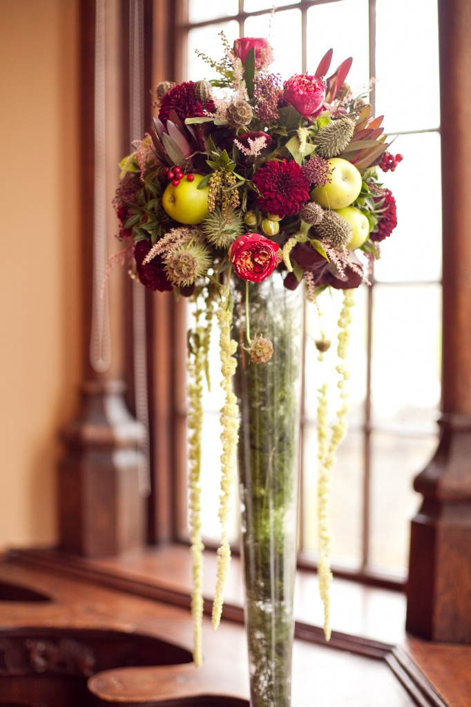 Autumnal Wedding flowers by he window