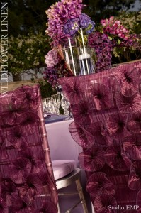 Luxury Linens Purple ruffle Chair covers