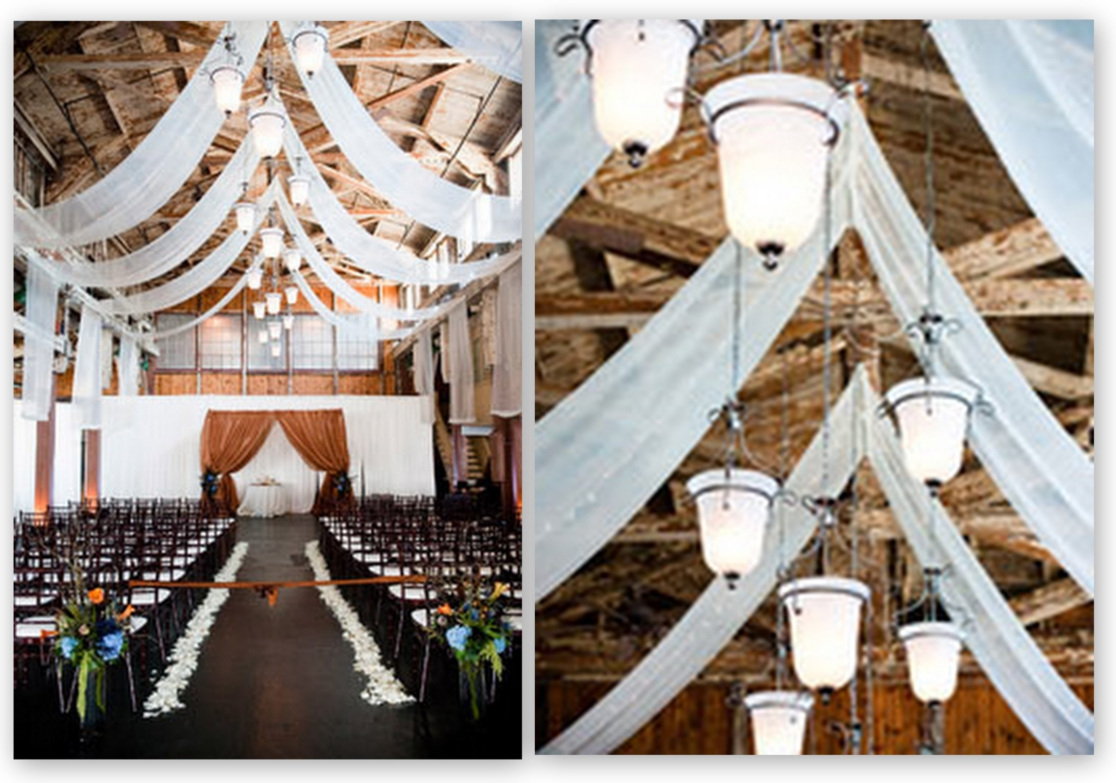 wedding ceremony fabric draping Always Look Up-Lighting
