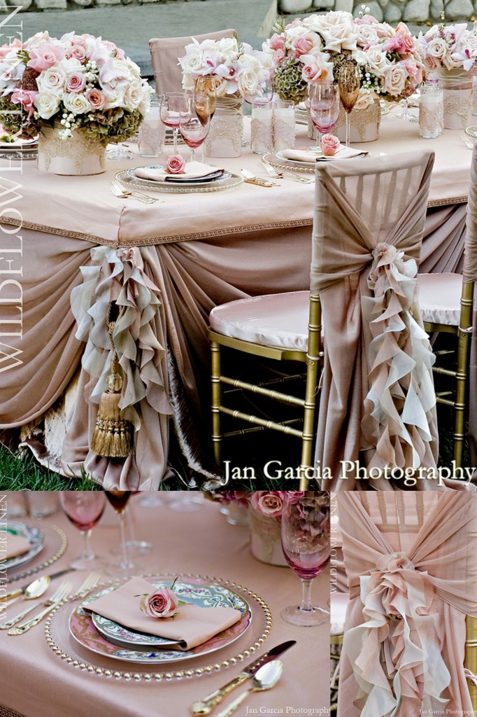 Purple ruffle Chair covers wildflowers linens