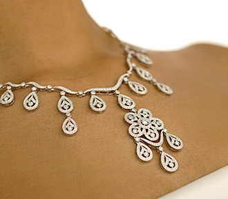 Real Bling necklace on tanned neck