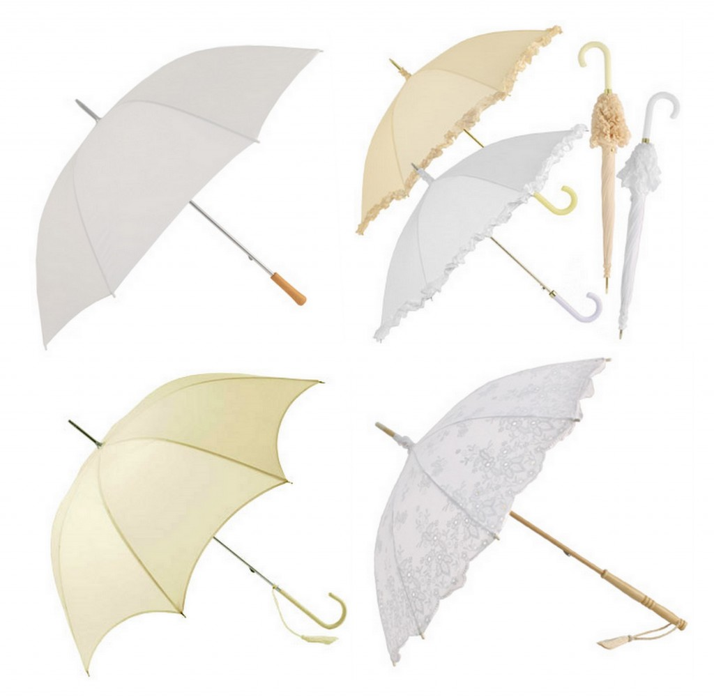 Rainy Day Weddings beige white classic brolly
