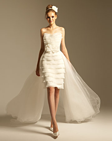 short wedding dress with removable train