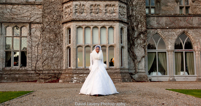 bride outside winter castle wedding Winter Castle Wedding
