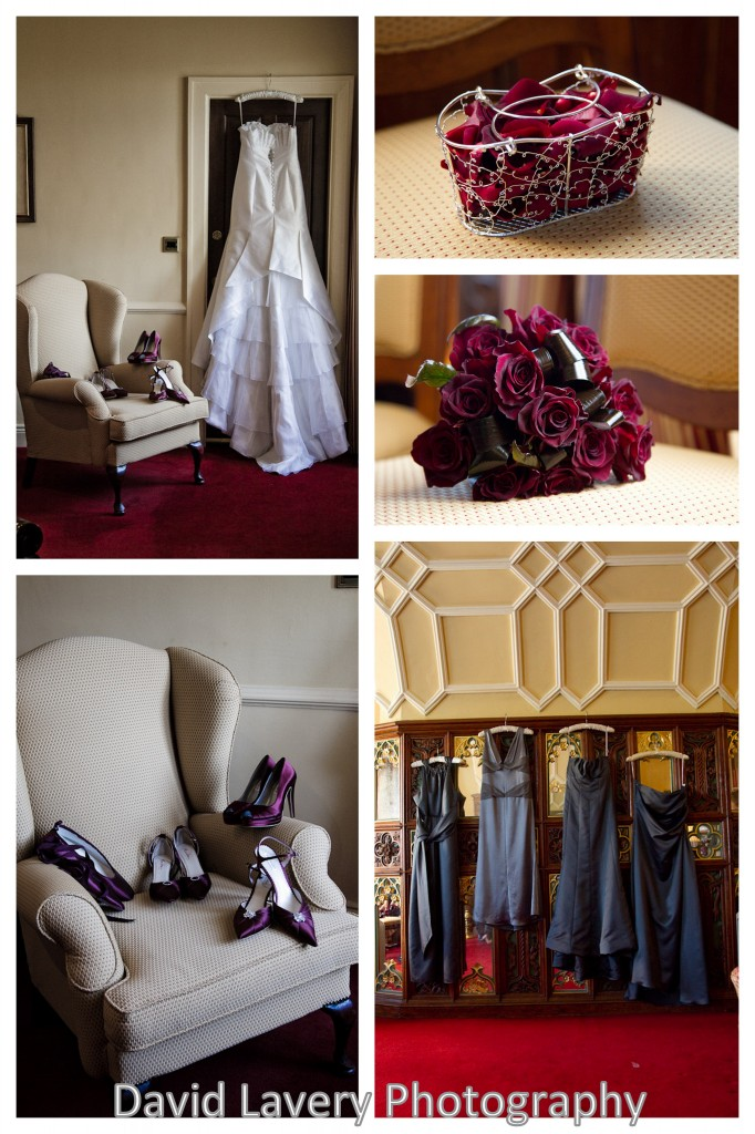 Winter Castle brides room deep red flowers and gown hanging up Winter Castle Wedding