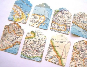 A Few of My Favorite Trends name tags with maps