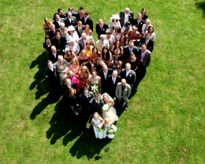 Guest Lists wedding party shaped like a heart