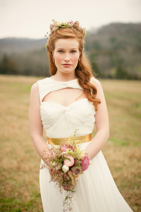 Celtic wedding bride in plane white dress with flowers in her hair
