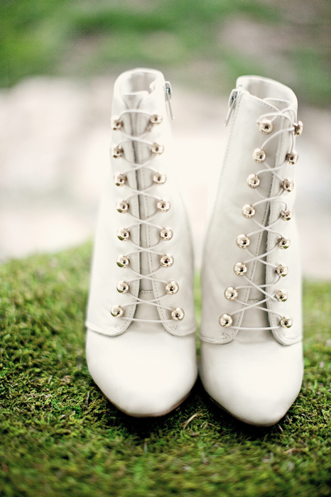 Celtic wedding white lace boots