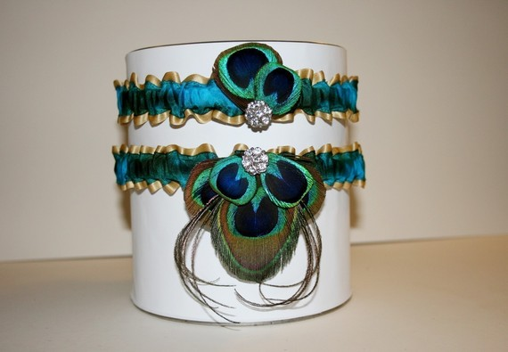 garter torquoise peacock feather garter