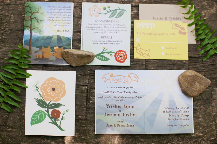 Summer Camp racoon woodland wedding invitations