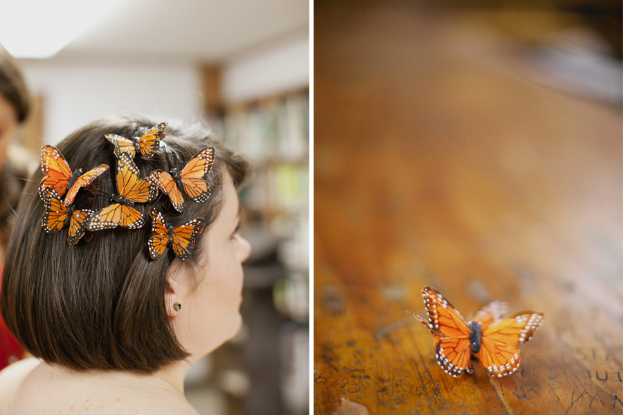 Summer Camp bride with butterflies in her hair