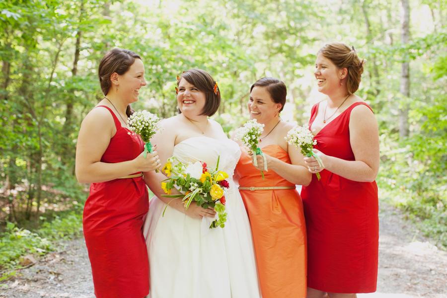 bride and bridesmaids at Summer Camp