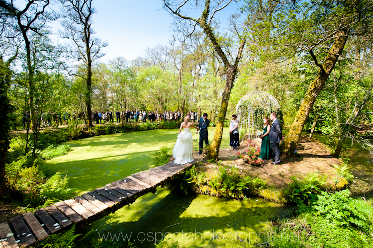 Wedding Villages couple on a bridge all green