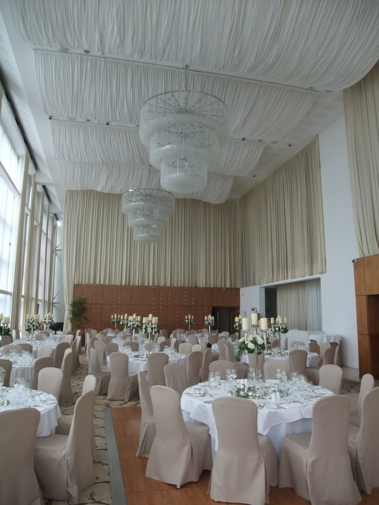 Elegant Affair with a drapes on the ceiling