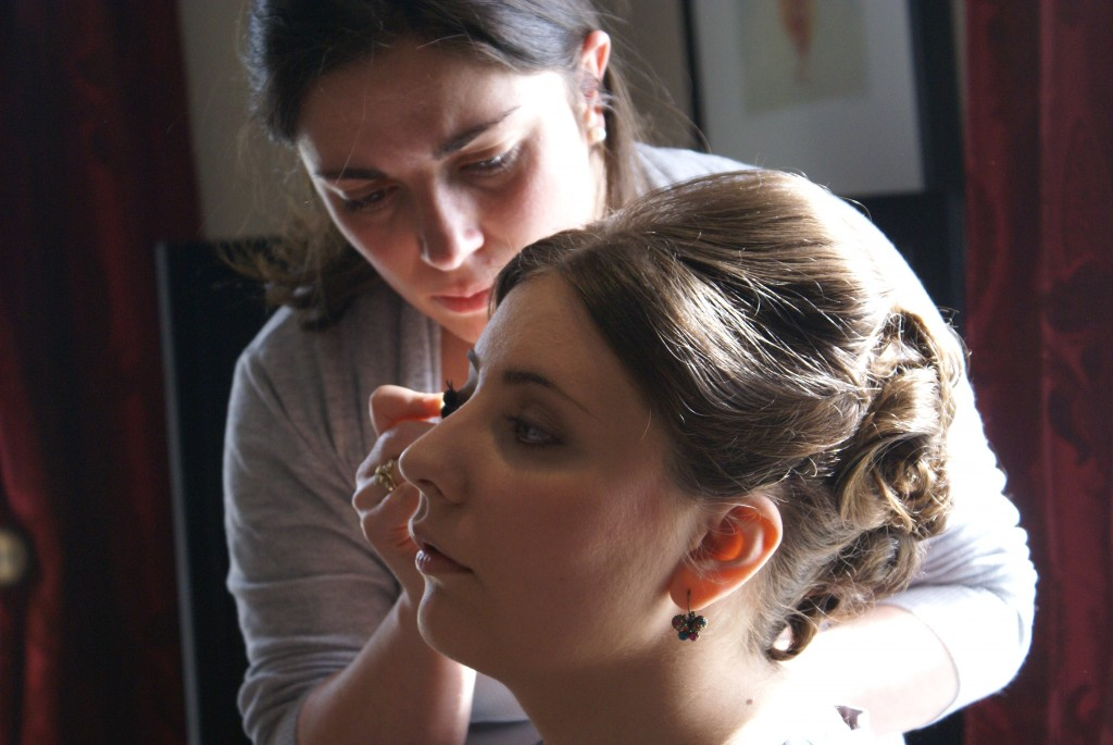 Wedding Party of Two makeup being applied