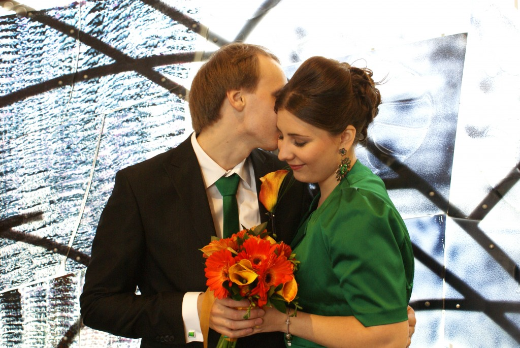 Wedding Party of Two couple kissing