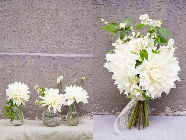 Dahlias white in jars
