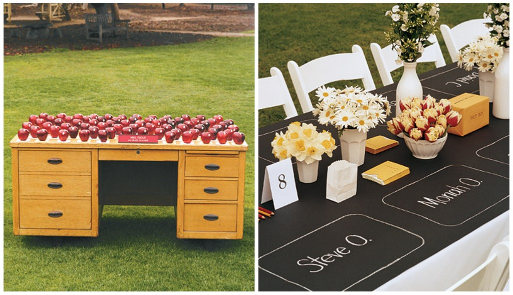 Wedding Brand tables and desk with letters written on them