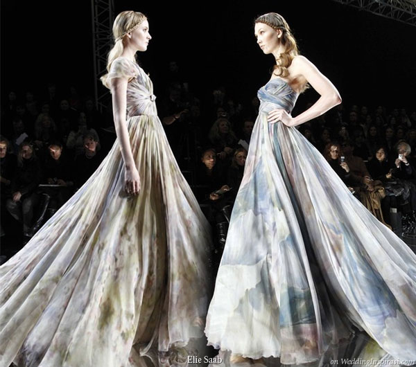 Watercolor Style two models in long watercolor print dresses