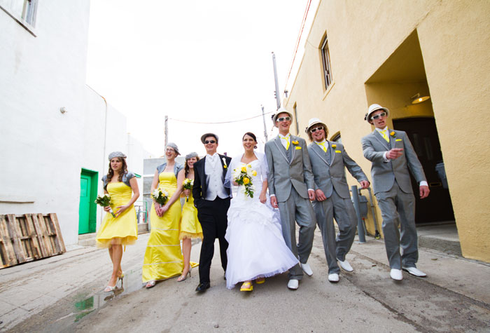 Out of Your Comfort Zone bridal party in sunglasses and walking