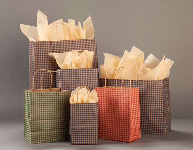 pretty packaging gingham paper bags