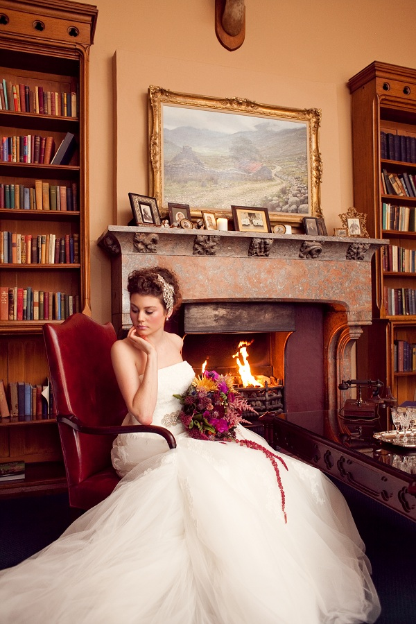 Autumnal Wedding bride by the fire