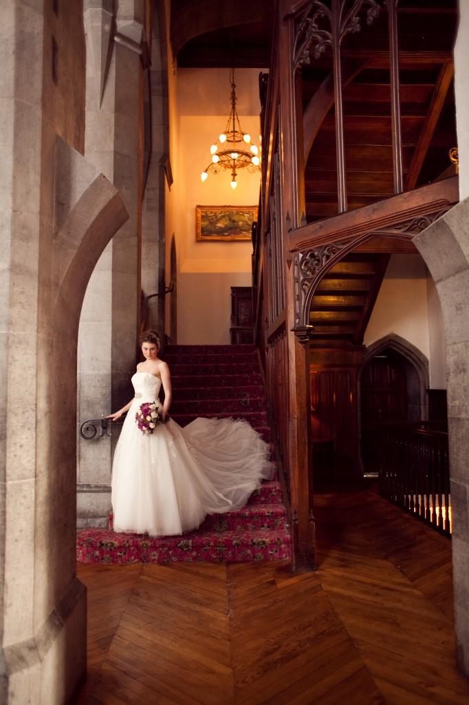 Autumnal Wedding bride walking down stairs