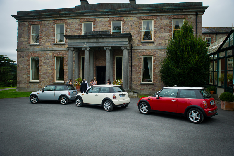 manor house minis out side hotel Italian job