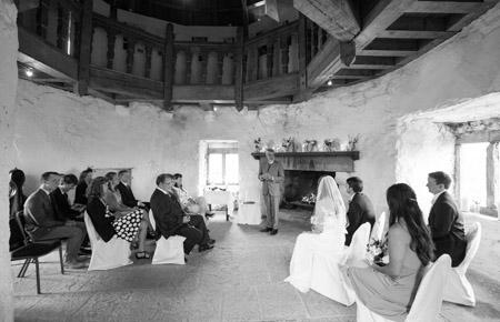 Castle and a Céilí wedding ceremony black and white