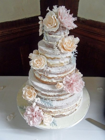 stacked naked cakes