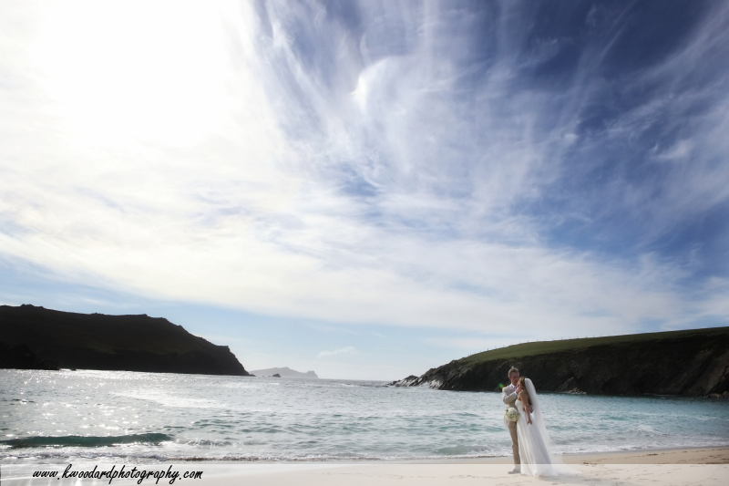 wedding couple on beach  Dingle wedding one of the  TOP 10 REASONS TO GET MARRIED IN IRELAND