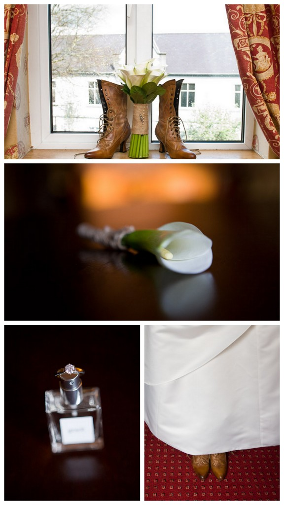 an american wedding with boots in the window