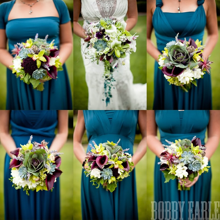 bright mixed bouquets in green and blue and purple flower trends