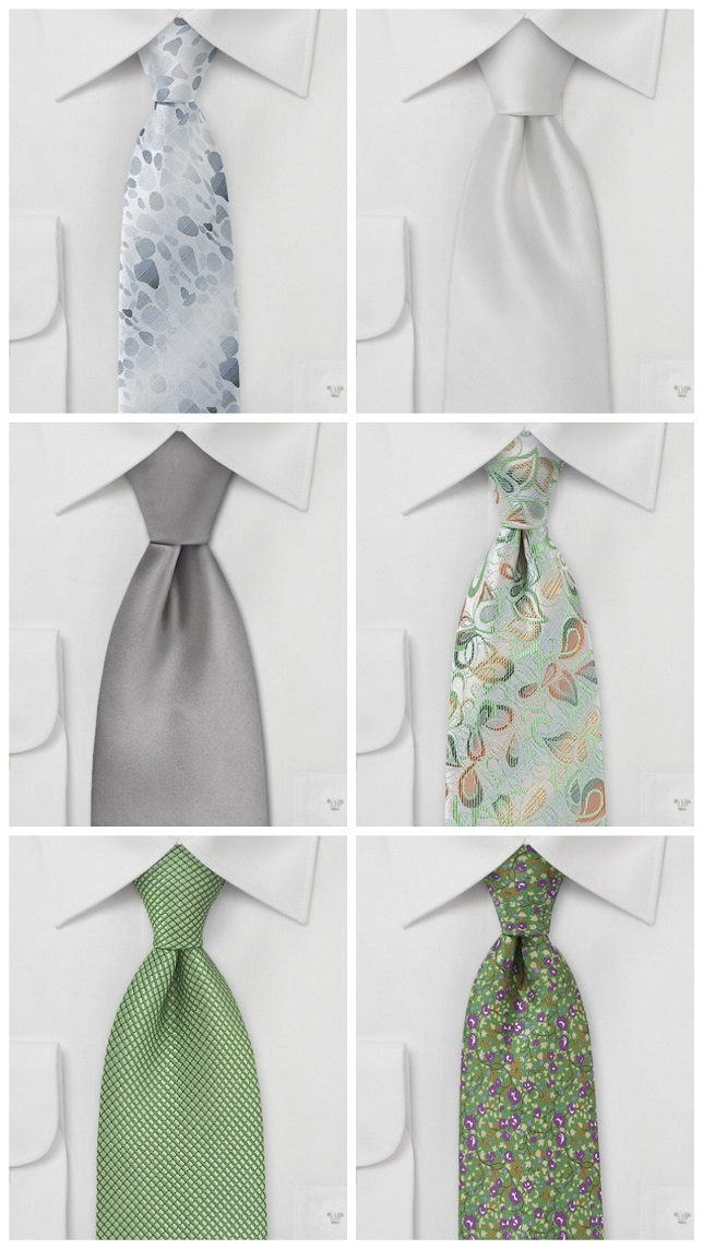the Guys ties silver and green wedding ties