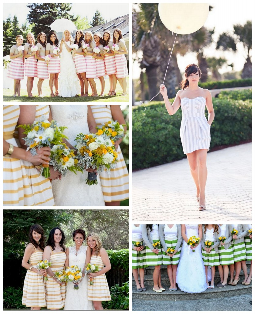 stripes bridesmaids striped bridesmaids