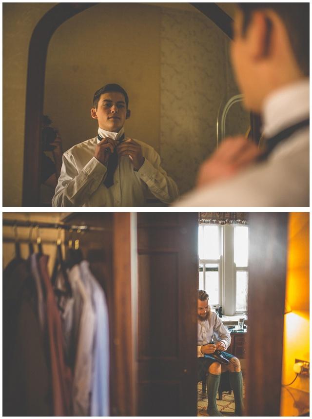 Ireland castle wedding groom getting ready tying a knot