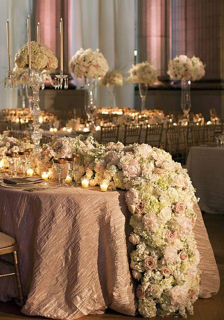 lush glamorous floral table runner garland