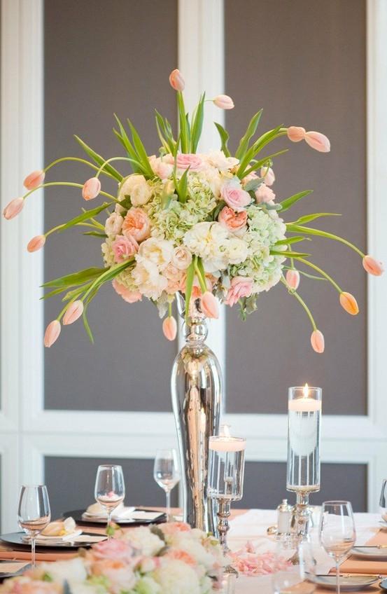 Dramatic Tulip Centerpiece Wedding Flowers