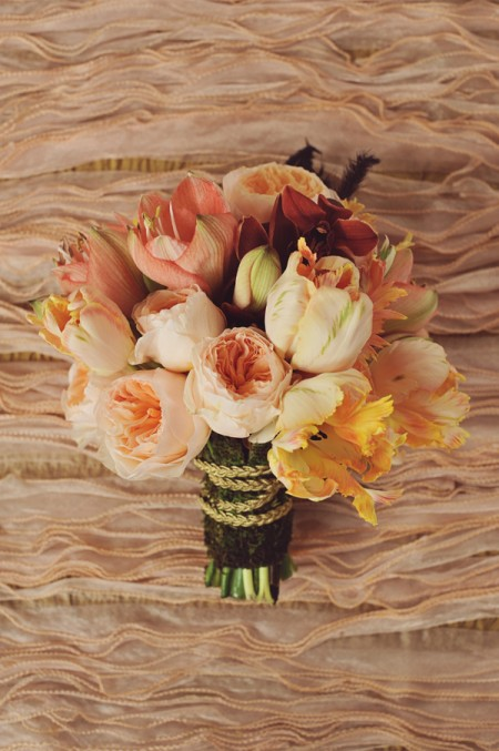 peach mixed bouquet parrot tulips and peonies Tulip Wedding Flowers