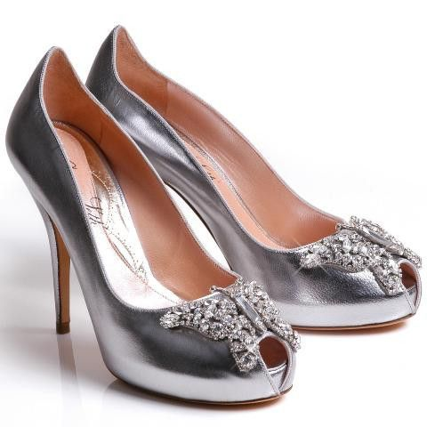 silver sparkle bridal shoes butterfly peep toeSunday Shoes-Bridal