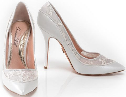 leather and lace high heel bridal court shoe Sunday Shoes-Bridal
