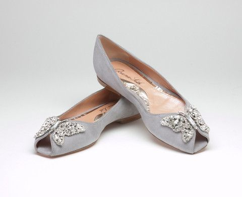 grey flat peep toe bridal shoe Sunday Shoes-Bridal