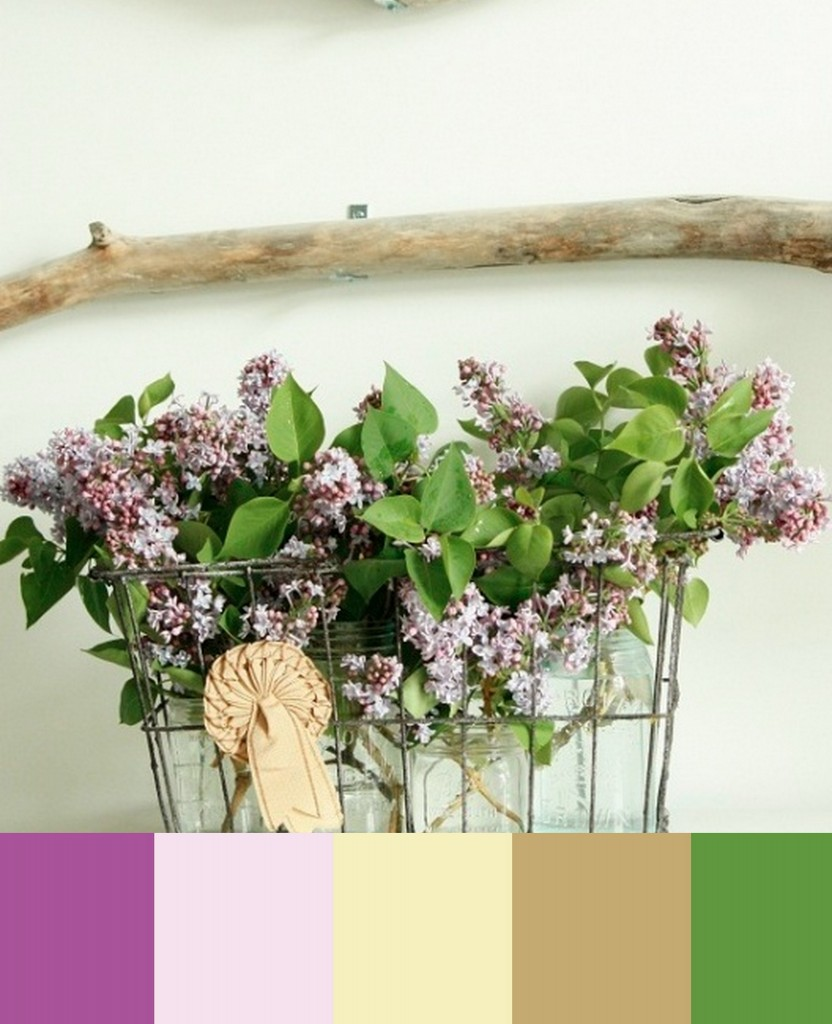 liliac purple and green and brown wedding colors