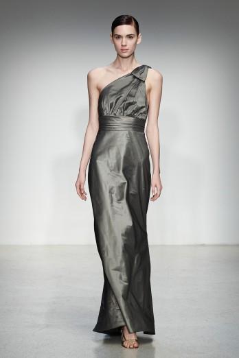 one shoulder grey taffita bridesmaids dress