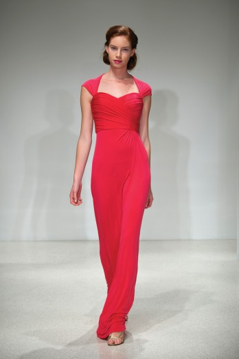 vibrant coral jersey bridesmaid dress