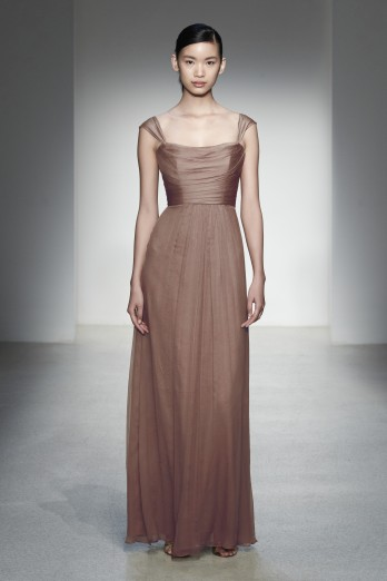 taupe neutral bridesmaid gown