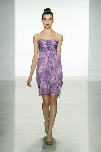 purple printed bridesmaids dress